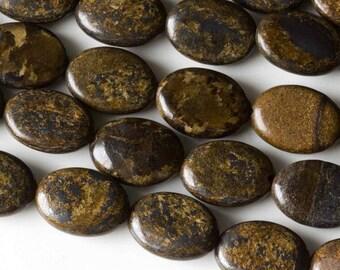 "Bronzite 8"" Strand 10x14mm Puffy Oval Beads - Strand of 14 Beads"