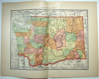 Washington: Original 1895 Map by Rand McNally. Antique