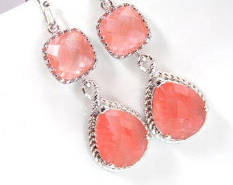 Coral Earrings, Peach, Grapefruit, Silver, Wedding Jewelry, Bridesmaid Jewelry, Bridesmaid Earrings, Bridal Jewelry, Bridesmaid Gifts