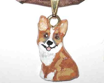 Sculpted WELSH CORGI Sitting Handpainted Clay Art Necklace/Pendant CHOOSE Red, Red-Head Tri, Sable or Tri-color Corgi