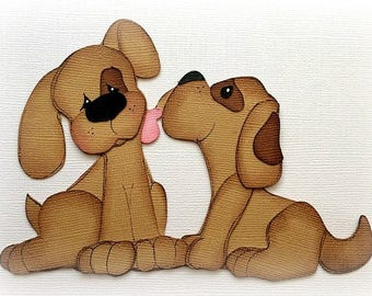 dog kisses set premade paper piecing 3d die cut by my tear bears kira
