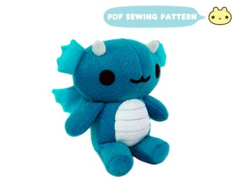 Toy Pattern, Sewing Toys Plushie Pattern, Dragon, Dragon Pattern, Download, Softie Pattern, Soft Toy Pattern, Dragon Sewing, Sewing Pattern