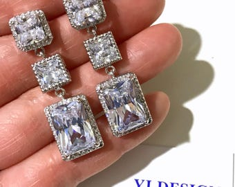 Rectangle Square Bridal Earrings, Princess Emerald Cut Wedding Earrings, Art Deco Wedding Jewelry, Pave Cz Zirconia Bridal Jewelry, QUADRA