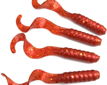"NEW 50/pack CHILI RED 3"" Grubs Curly Twister Tail Fishing Lure Plastic Soft Bait"