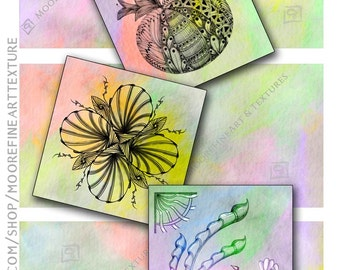 COTTON CANDY ZENTANGLE Tiles - Printable Download Collage Sheet 6 Digital Cards 3.5x3.5 inches