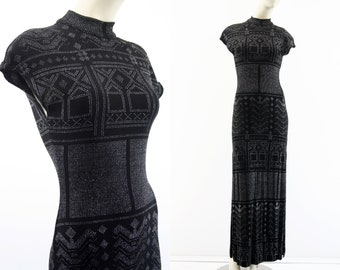 90's Vintage Cache Stretch Black and Silver Mock Neck Cap Sleeve Intricate Design Woman's Retro Maxi Dress