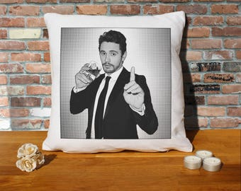 James Franco Pillow Cushion - 16x16in - White