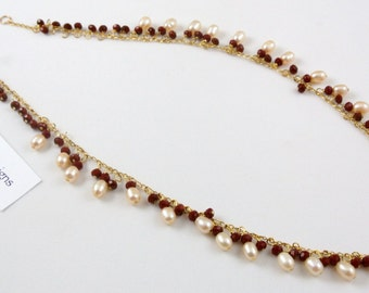 """Freshwater Pearl & Ruby Red Crystal Necklace, 17"""" long"""