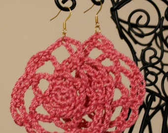 Pink Rosette Crochet Earrings