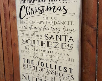 "Custom Carved Wooden Sign - ""We're gonna have the Hap-Hap-Happiest Christmas ..."" National Lampoon's Christmas Vacation"""
