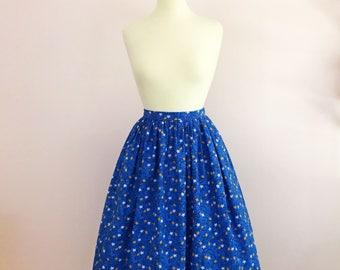 1950s 50s Inspired Novelty Print Full Gathered Skirt | Mid Century JW Modest Skirt | Retro Lemon Print Skirt | Rockabilly Full Midi Skirt