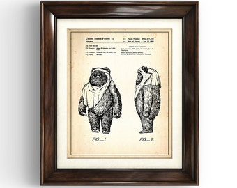 STAR WARS | WICKET | 1985 | Patent Print | Star Wars Print | Star Wars Gift | Movie Art | Man Cave | Return of the Jedi | Ewok Print | Ewok