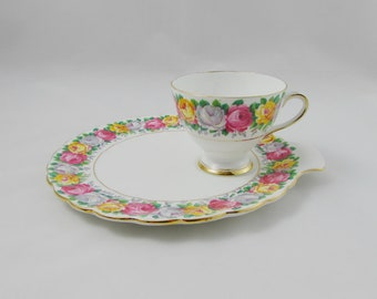 "Gladstone Luncheon Set, Tea Cup and Plate, ""Rosemary"", Rose Garland, Vintage Bone China, Snack Set"