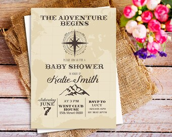 Travel baby shower invitation adventure baby shower gender world traveler baby shower invitation the adventure begins baby shower invitation travel the world filmwisefo