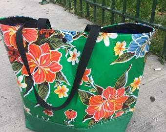 Large Green Floral Oil Cloth and Canvas Trimmed Beach Bag, Tote Bag, Vinyl Bag