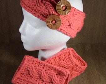 Cable Stitch Crochet Ear Warmer Headband & Wrist Warmer Fingerless Glove Set - Papaya