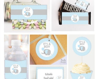 Printable Elephant Party Table Set, It's a Boy Baby Shower set, Toppers, Water Bottle Labels, Candy Wrappers, Instant Download BBEB1 -D048
