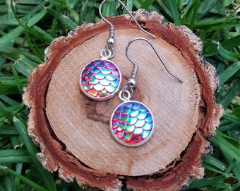 Colour changing mermaid dragon scale drop earrings hypoallergenic stainless steel hooks 1.2cm 12mm