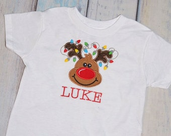 Boy and Girls Applique Christmas Holiday Reindeer Personalized Shirt