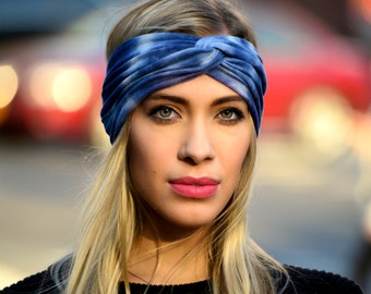 Tie-dye Turban Headband Women's Turban Headscarf Shibori Hair Wrap Boho Turban Headband Gift For Her Blue Headwrap