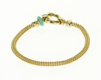 14k Round Ball Mesh Link Chain Fancy Bracelet Gold 7""