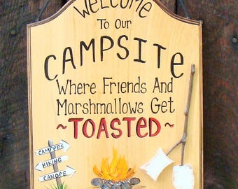 Personalized Welcome to our Camp Sign Campsite Fire  Beer Marshmallows Friends Toasted Personalized  Your Name Hand Painted Christmas Gift