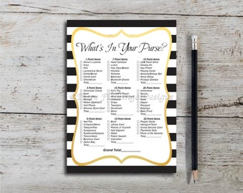 What's In Your Purse, Baby Shower Game, Shower Game, Black and White Stripes, Gold baby shower, Neutral, Printable, Instant Download T671A