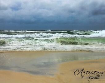 Storm, Waves, Cloudy, Beach Photography,Sunset photo, Landscape, Ocean photography, Coastal Wall Art, Nautical, Waves