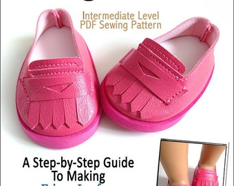 Pixie Faire Miche Designs Fringe Loafers Doll Clothes Pattern for 18 inch American Girl Dolls - PDF