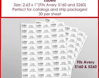 "LABELS: Color Street Return Address Labels - Avery 5160 - Size 2.63"" x 1"""