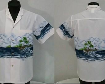 Vintage 80's 90's  Malihini Hawaii Windsurf Sailing Hawaiian Shirt Men's M Cotton Camp Surfing Surf Short Sleeve Lt. Pink Blue Multi