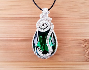 Silver wire wrapped Swarovski dark moss green snake pear drop pendant necklace