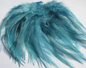 Rooster Saddle Hackle Feathers - Teal