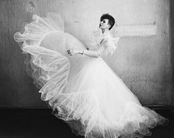 Super weiße Tüll 80 s Brautkleid klein