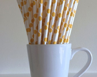 Yellow Polka Dot Paper Straws Party Supplies Party Decor Bar Cart Cake Pop Sticks Mason Jar Straws  Party Graduation