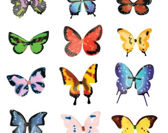 Assorted Layon Butterflies Cake And Cupcake Toppers - 12 Count - 33716