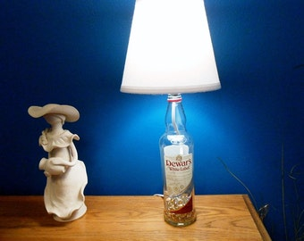 Recycled  Dewar's White Label Blended Scotch Whiskey Bottle Lamp accented White lamp shade by Kams-store.com