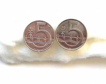 Cuff links made with Czechoslovakian 22 mm diameter coins.