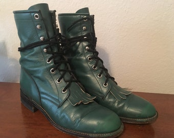 Vintage Green Justin Granny Western Combat Rocker Grunge Kiltie Lace Up Leather 6B