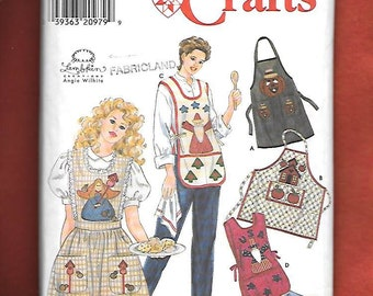 Simplicity  7889 Misses' Aprons With Appliques, And 4 Styles To Choose From, Sizes Small To Large, UNCUT