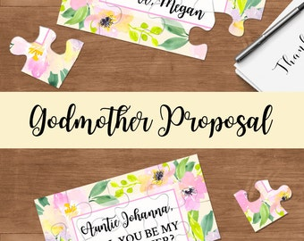 Will you be my Godmother, Godmother Puzzle Invitation, Asking Godparents Card, Godmother Proposal Christening Card, Godmother Gift - 040