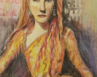 """Original Colored Pencil """"Young Lady"""""""