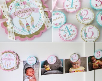 Wild One Birthday Photo Banner - 12 Month Photo Banner - Wild One Birthday Party Photo Banner - Pink, Gold, Turquoise
