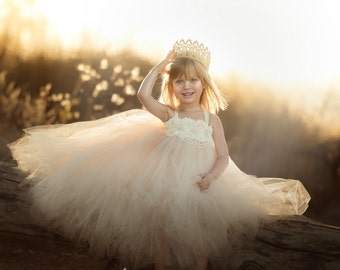 Champagne Flower Girl Dress / Champagne Tutu Dress / Champagne Tulle Dress / Champagne Dress / Champagne Wedding / Champagne /