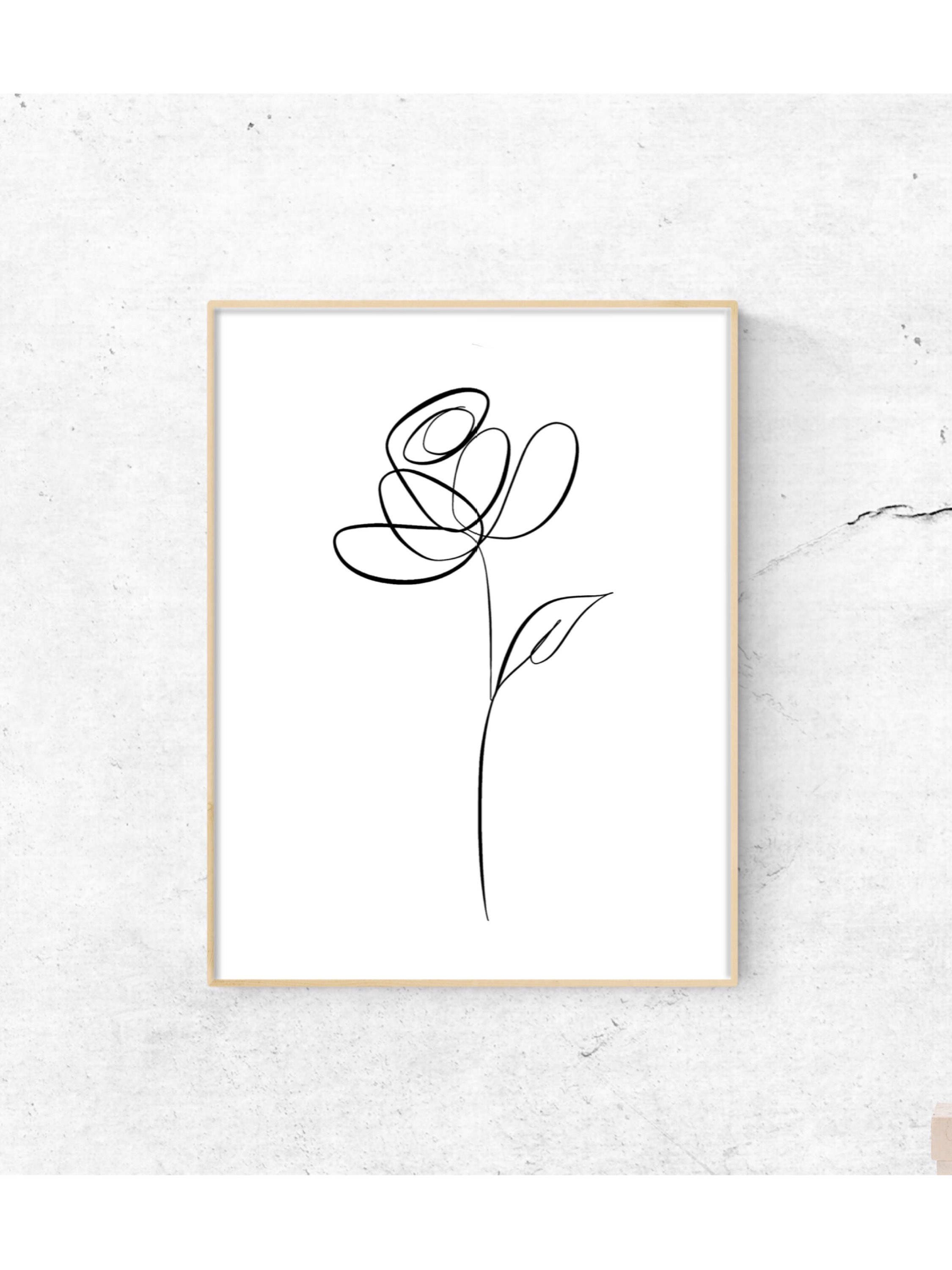 Botanical line art botanical line drawing line art print for Minimalist wall art