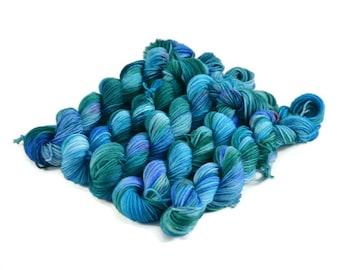 Mini Skeins, Hand Dyed Yarn, Sock Weight, Superwash Merino Wool Yarn, Knitting Yarn, Sock Yarn, Multi-colored, green, pink, blue - Sonata