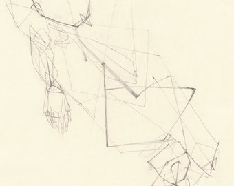Nude Sketch 2 (print) - original life drawing by pencil, nude man, abstract, reclining nude