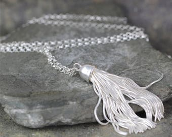 Long Tassel Necklace -  Sterling Silver Layering Necklace - Silver Tassel Pendant - Boho Style
