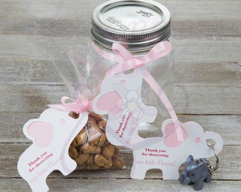 """Elephant Baby Shower Gift Tags - """"Thank you for showering our little peanut!"""" - pink, blue, lavender, green yellow"""