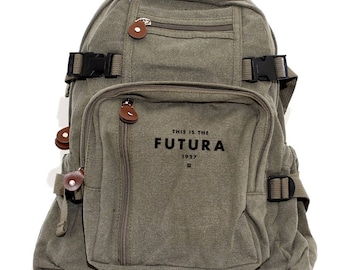 Backpack Futura, Canvas Backpack, Rucksack, Travel Backpack, Typography, Small Backpack, Weekender Bag, Women's Backpack, Men's Backpack